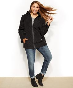 4d63b3b2f Laundry by Design Plus Size Faux-Leather-Trim Hooded Quilted Puffer Coat    Reviews - Coats - Women - Macy s