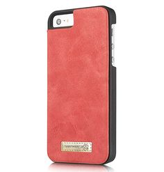 CaseMe iPhone SE/5S/5 Zipper Wallet Detachable 2 in 1 Flip Case Red