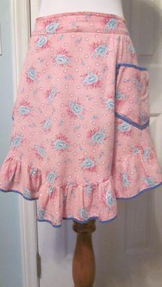 Vintage 1940s Apron Feedsack Fabric Pink Teal Roses by TenderLane, $15.00