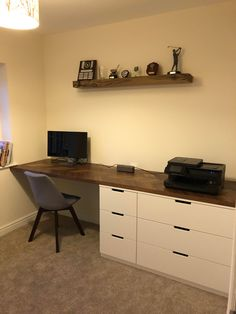 IKEAhacks is a smart community focused on helping people build the perfect furniture for their living space using items sold by IKEA. Ikea Office Hack, Office Hacks, Guest Room Office, Office Desk, Desk Hacks, Ikea Hacks, Nordli Ikea, Ikea Desk, Cool Office Space