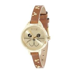 Floozie by Frost French Ladies tan studded strap cat face watch- at Debenhams.com