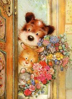 Art And Illustration, Cute Animal Illustration, Illustrations, Vintage Pictures, Cute Pictures, Decoupage, Art Folder, Vintage Greeting Cards, Vintage Christmas