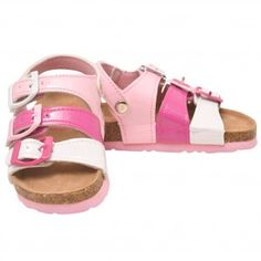 ca19f0c403ddfd Rugged Bear Little Girls White Pink Triple Strap Cork Sandals 6-10 Toddler  Cork Sandals
