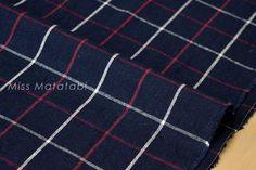 Japanese Fabric - Tattersall check - navy blue