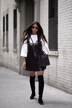 Kayla Seah Not Your Standard blogger nyfw fashion week new york streetstyle sigerson morrison berry tall boot black suede Dior leather dress Suno Bell Sleeved Tunic Sophie Hulme Polka Dot Mini Albion bag