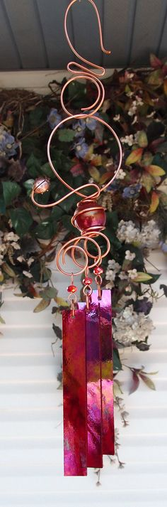 Ladybug Wind Chimes Copper Garden Art by DragonflyDreams1 on Etsy