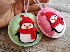Your place to buy and sell all things handmade Felt Christmas Decorations, Felt Christmas Ornaments, Diy Ornaments, Beaded Ornaments, Christmas Projects, Felt Crafts, Holiday Crafts, Homemade Christmas, Christmas Crafts