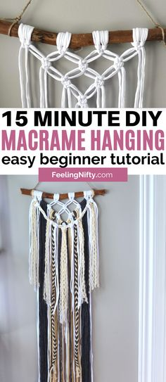 Easy DIY Macrame Wall Hanging in 15 Minutes for Beginners Macrame Plant Hanger Patterns, Free Macrame Patterns, Macrame Wall Hanging Patterns, Yarn Wall Hanging, Large Macrame Wall Hanging, Wall Hangings, Diy Yarn Decor, Macrame Square Knot, Macrame Design