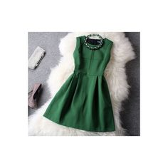 New Unique Fresh Green Beading Party Dress (355 CNY) ❤ liked on Polyvore featuring dresses