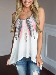 White Scoop Neck Floral Cami Top
