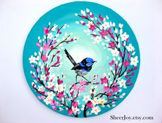 Wren Painting on a round Canvas by Cathy Jacobs - Malerei Kunst Small Canvas Paintings, Easy Canvas Painting, Simple Acrylic Paintings, Indian Art Paintings, Diy Painting, Canvas Wall Art, Painting For Sale, Painting Abstract, Round Canvas