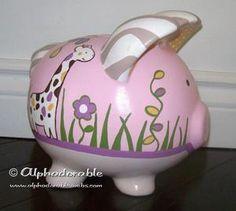Custom hand painted piggy bank to match Cocalo Jacana set.