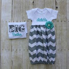 Big Brother Little Sister Set - Grey Chevron - T Shirt - Newborn Gown - Aqua…