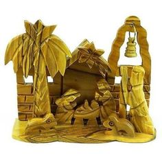 Olive Wood Medium Bell Nativity Handmade and Fair Trade This traditional olive wood nativity is handmade in Bethlehem. With fixed figures, this piece is 4 inches tall by inches wide and inches deep. Holiday Ornaments, Holiday Gifts, Holiday Decor, Toddler Crafts, Preschool Crafts, Nativity Sets For Sale, Jesus Birthday, Holiday Crafts For Kids, Nativity Crafts