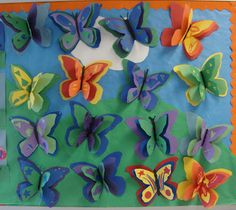 Colour Theory Butterflies from Art Paper, Scissors, Glue. Spring Art, Summer Art, Spring Crafts, Arte Elemental, 2nd Grade Art, Elements And Principles, Ecole Art, Paper Butterflies, Kindergarten Art