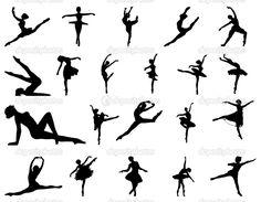 Ballet dancing girl silhouette vector set — Stock Vector © newelle ...