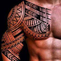 Polynesian chest tattoo for men