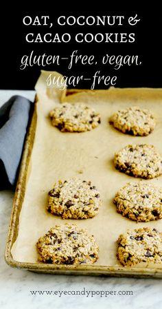 [video] Oat, coconut and cacao cookies, aka super healthy oatmeal cookies (vegan, no flour, no sugar, gluten-free) via @eyecandypopper