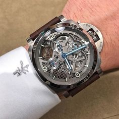 """paneraicentral: """"Fun fact. This #Panerai PAM578 Skeleton Tourbillon GMT has a case that has been 3D printed out of Titanium. This allowed the case to be hollow in places where you normally couldn't...."""