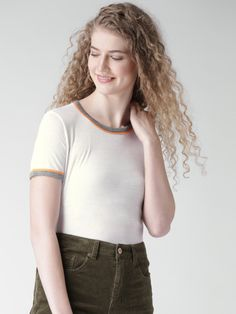 dafd920e069d Buy FOREVER 21 Women White Solid Round Neck T Shirt - Tshirts for Women |  Myntra