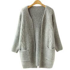 2016 Autumn Korean Version Solid Color Pocket Loose Sweater Female Long Sweater Cardigan Sweater