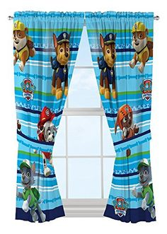Paw Patrol Curtains for a Paw Patrol Bedroom Theme.