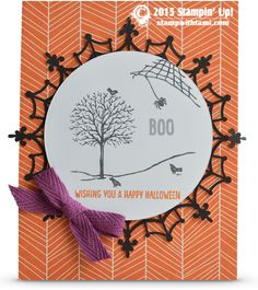 BLOG HOP: Stamp It Holiday Catalog Sneak Peek. Today's Boo Halloween card features Happy Scenes stamp set in the Stampin Up Holiday catalog. It also features Happy Haunting designer paper,  Spider web doilies and  Into The Woods cotton ribbon.