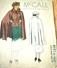 1930s McCall 8501 cape pattern from 1935