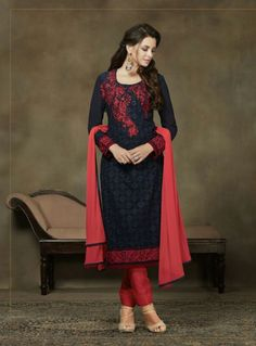 Royal Blue Georgette Design 1003 Man Mohini Collection By Syginni Creations. Churidar Suits, Patiala Salwar, Churidhar Designs, Blue Pants, Wearing Black, Midnight Blue, Navy Blue, Royal Blue, Party Wear