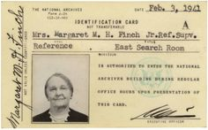 "Mrs. Margaret M. H. Finch worked for the National Archives between 1940 and 1949. She knew the pension files from the nation's first two wars better than anyone else, lovingly referring to them as her ""heart throbs."""
