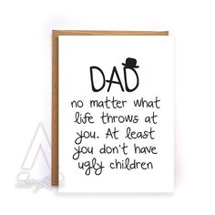 Dad Birthday Card From Kids Thank You Funny Greeting Cards Fathers Day Daughter Son GC4