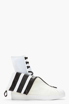 Y-3 // WHITE LAYERED DOUBLE-COLLAR X SNEAKERS.