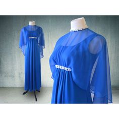 1960s Royal Blue Emma Domb Evening Gown Greek Goddess Bohemian ($45) ❤ liked on Polyvore featuring dresses, gowns, long chiffon dress, blue prom dresses, royal blue evening dress, long evening gowns and prom gowns