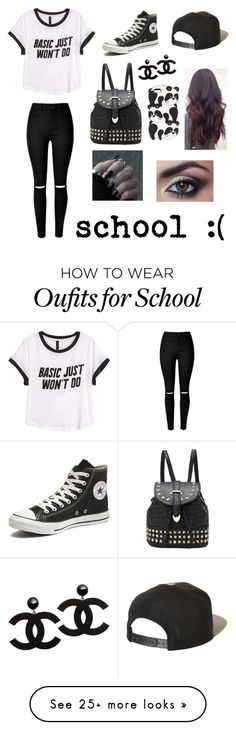 """""""school :("""" by qveen-nayah on Polyvore featuring H&M, Converse and Brixton"""