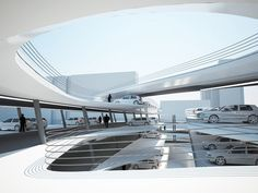 the next structure to join miami beach's growing collection of parking garages, this minimalist and playful spiral of ramps creates an urban street space within the building.