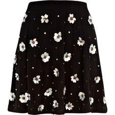 Black 3D sequin flower embellished skirt #riverilsland