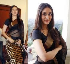Actress Kareena promoting Chanderi silk sarees, handspun silk saree in classic colours Black and Gold