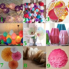 I'm in the mood for a party, aren't you? Well, you're in luck: here are some super cute (and inexpensive and easy) party decoration ideas I've seen around the web lately. Which is your favorite?        Yarn Ball Lights from Kim's Kandy Kreations  C