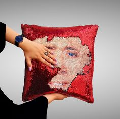 b90e59f5b6 NICOLAS CAGE face sequin pillow sequin funny colorfull christmas gift