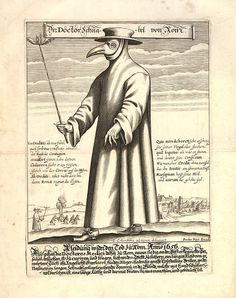 """The Plague Doctor    Or Doktor Schnabel von Rom (""""Doctor Beak of Rome""""), engraving by Paul Fürst, 1656."""