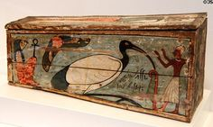 Egyptian wooden coffin painted with sacred ibis of Thoth at Museum of Fine Arts, Houston. Houston, TX.