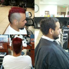 Before and after, red mohawk