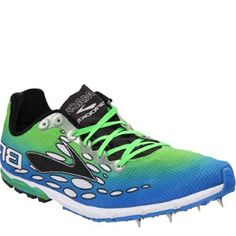 The Brooks running spike shoe means business. Designed to make the running experience better, giving the wearer the benefit of better grip, this pair of shoes is a must for serious runners.  http://coolneonshoes.com  #trainer #brooks #spike #green #blue #shoe