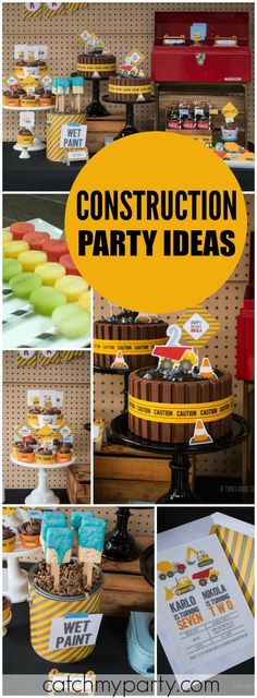 of great ideas at this construction party today! See more party ideas at !Lots of great ideas at this construction party today! See more party ideas at ! Construction Birthday Parties, Construction Party, 4th Birthday Parties, Construction Worker, Third Birthday, Boy Birthday, Cake Birthday, Boys 2nd Birthday Party Ideas, Birthday Banners