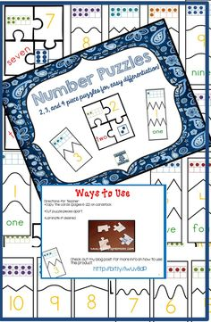 Number Puzzles--Match number, ten frame, word, and dice dots Differentiated puzzles for digits includes and 4 piece puzzles so you can differentiate OR use at different times through the year. Numeracy Activities, 1st Grade Activities, Math Manipulatives, 1st Grade Math, Grade 1, Subitizing, Educational Activities, Math Work, Fun Math