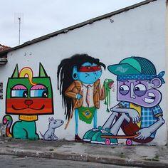 Parque Edu Chaves ganha graffiti assinado por Crânio, Chivitz e Minhau