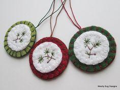Wool Felt Ornaments Evergreen Branch Freehand by WoollyBugDesigns