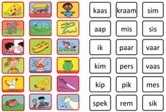 memorie  veilig leren lezen,  kim versie, kern 1. Learn Dutch, Dutch Language, Speech Language Therapy, Learning Letters, Language Activities, Creative Teaching, School Hacks, Kids Reading, Learn To Read
