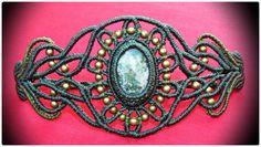 Adjustable Macrame Bracelet with Dioptase semi-precious stone and bronze beads.