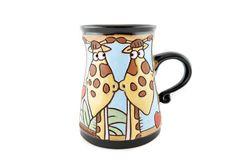 Pottery Teapots, Pottery Mugs, Ceramic Pottery, Giraffe Mug, Giraffe Print, Earthenware, Stoneware, Tea Mugs, Coffee Mugs